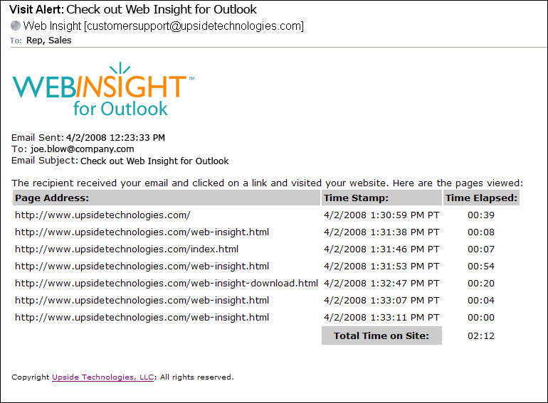 Click to view Web Insight for Outlook 1.0.0 screenshot